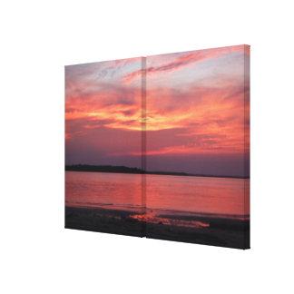 Fotografia da arte das canvas do painel do por do  impressão em tela