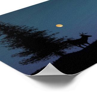 Fotografia da paisagem do veado e da lua poster