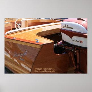 Fotografia de madeira do motor do barco e do nómad poster
