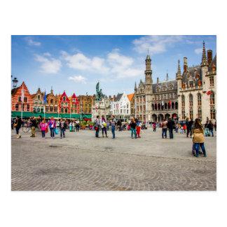 Fotografia do mercado de Bruges Cartão Postal