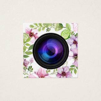 Fotografia elegante da câmera floral do fotógrafo cartão de visitas quadrado