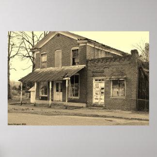 Fotografia histórica preto e branco da construção pôster