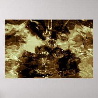 Fotografia líquida do abstrato do ouro impressão