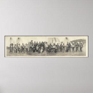 Fotografia panorâmico do vintage do nativo america pôster