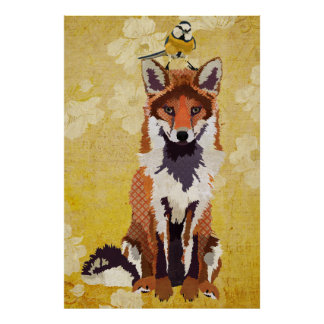 Fox ambarino & poster pequeno da arte do pássaro