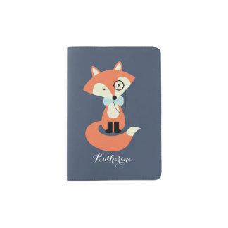 Fox bonito do hipster com Monocle e laço Capa Para Passaporte
