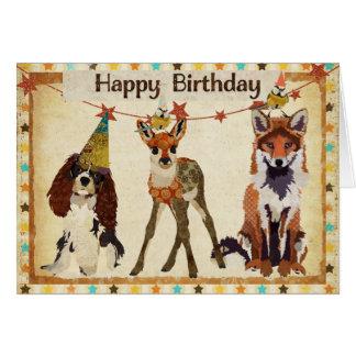 Fox cão jovem corça cartão de aniversário