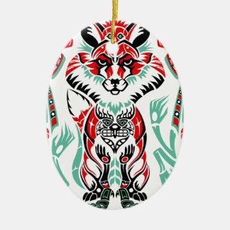 Fox litoral norte pacífico do indiano do nativo ornamento de cerâmica oval