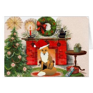 Fox na frente do cartão de Natal da lareira