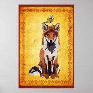 Fox & poster pequeno da arte do pássaro