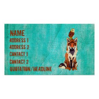 Fox retro do âmbar & cartão de visita da coruja