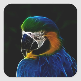 Fractal azul do papagaio de Digitas Adesivo Quadrado