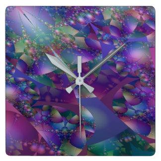 Fractal roxo e azul da bolha relógios para paredes