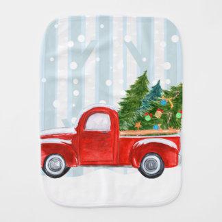 Fralda De Boca Camionete vermelho do Natal em uma estrada nevado