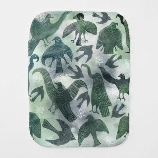 Fralda De Boca Pano verde do burp do bebê dos pássaros