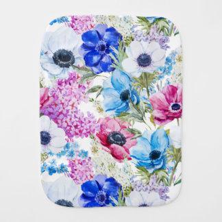 Fralda De Boca Teste padrão de flores roxo azul da meia-noite da