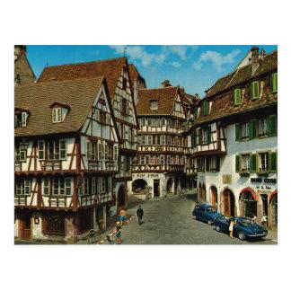 France, Colmar, Alsácia, cartão retro