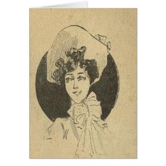 Francês do vintage, época do Belle, senhora elegan Cartão Comemorativo