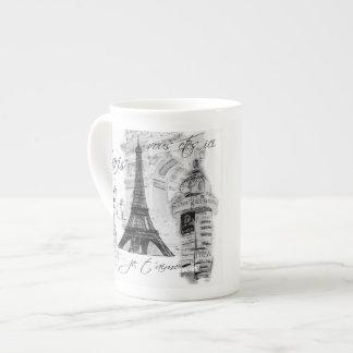 Francês preto & branco da torre Eiffel de Paris da Bone China Mug