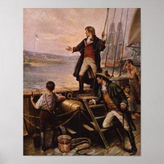 Francis Scott Key - pintura da bandeira star Pôster