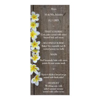 """Frangipani do casamento de praia/menu rústico do convite 10.16"""" x 23.49cm"""