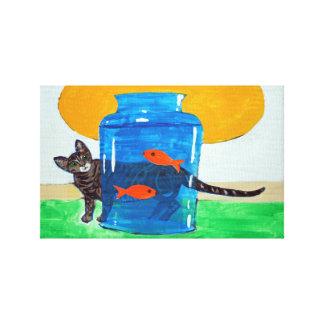 frasco azul com peixes e gato impressão em tela
