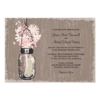 Frasco de pedreiro do vintage e Wildflowers que Convite Personalizados