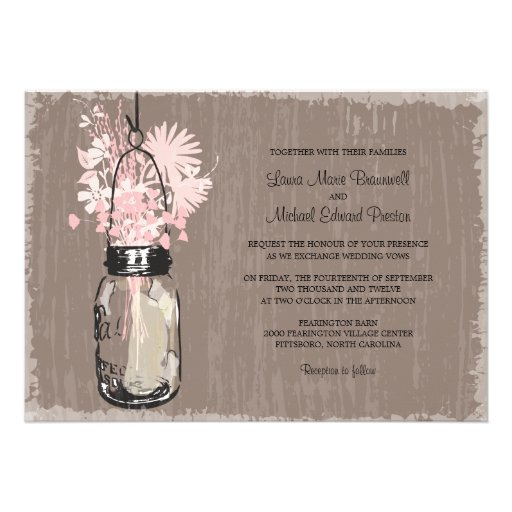 Frasco de pedreiro do vintage e Wildflowers que We Convite Personalizados