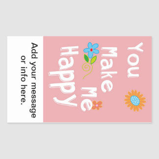 Frase inspirador da tipografia - rosa adesivo retangular