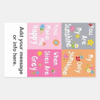Frases inspiradores da tipografia - colagem adesivo retangular