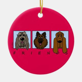 Friends: Spinone Italiano, Tervueren, Bloodhound Ornamento De Cerâmica Redondo