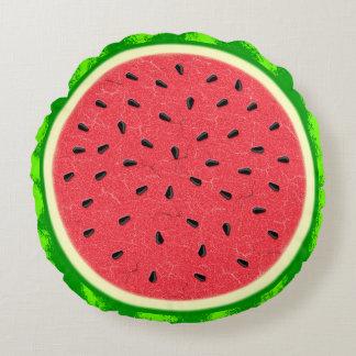 Fruta do verão da fatia da melancia com casca almofada redonda