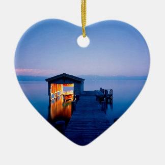 Fuga Nevada de Lake Tahoe Ornamento De Cerâmica Coração