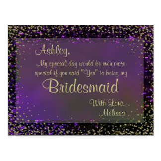 Fulgor roxo festivo - você será minha dama de cartão postal
