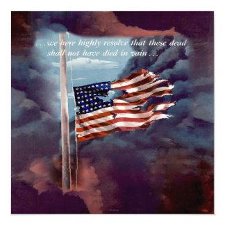 Fumo caído mas não esquecido e bandeira rasgada convite quadrado 13.35 x 13.35cm