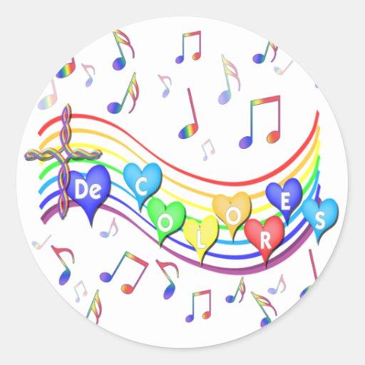 Funcionarios de De Colores Música Adesivo Em Formato Redondo