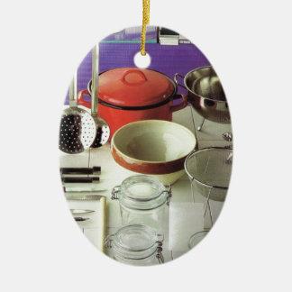 Fundamentos da cozinha do vintage ornamento de cerâmica oval
