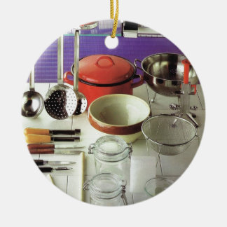 Fundamentos da cozinha do vintage ornamento de cerâmica redondo