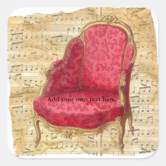 Fundo 1 da contagem musical de cadeira de sala de adesivo quadrado