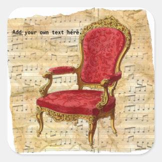 Fundo 2 da contagem musical de cadeira de sala de adesivo quadrado
