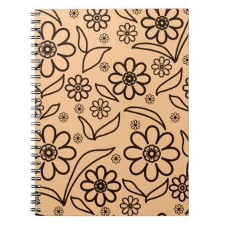 Fundo abstrato floral caderno espiral