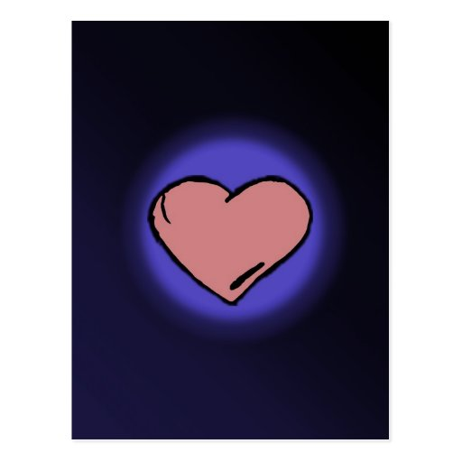 Fundo azul com coração cor-de-rosa do amor cartao postal