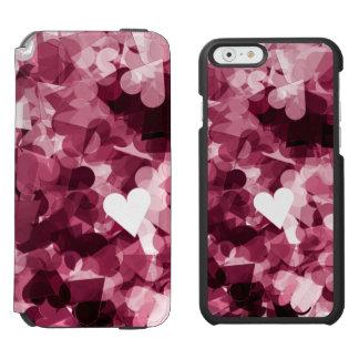 Fundo cor-de-rosa macio dos corações de Kawaii Capa Carteira Incipio Watson™ Para iPhone 6