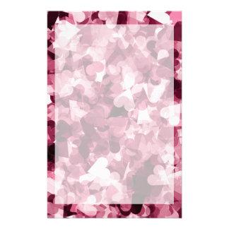 Fundo cor-de-rosa macio dos corações de Kawaii Papelaria