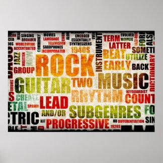 Fundo da arte do poster da música do rock and roll pôster