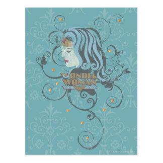 Fundo do azul da mulher maravilha cartão postal
