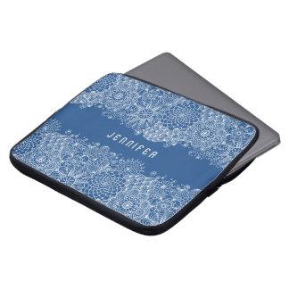 Fundo feito sob encomenda dos azuis marinhos do bolsas e capas de notebook