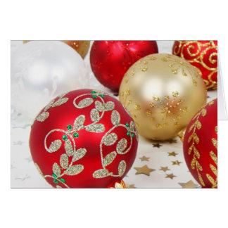Fundo festivo dos enfeites de natal do feriado cartão de nota