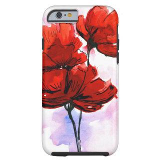 Fundo floral pintado abstrato 2 capa tough para iPhone 6