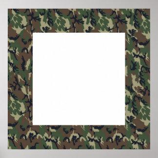 Fundo militar da camuflagem da floresta com branco poster